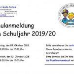 09. und 10. Oktober 2018 – Anmelden (Einschulung 2019)