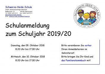 08. und 09. Oktober 2019 – Anmelden (Einschulung 2020)